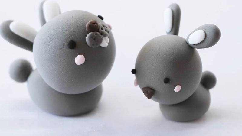 小灰兔超轻粘土教程图片 小灰兔用粘土怎么做