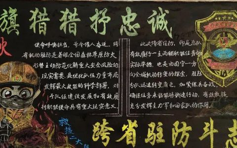 旌旗猎猎抒忠诚 跨省驻防斗志扬黑板报图片