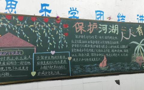 保护母亲河黑板报图片 保护河湖 人人有责