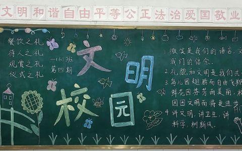 文明礼仪文明校园黑板报图片