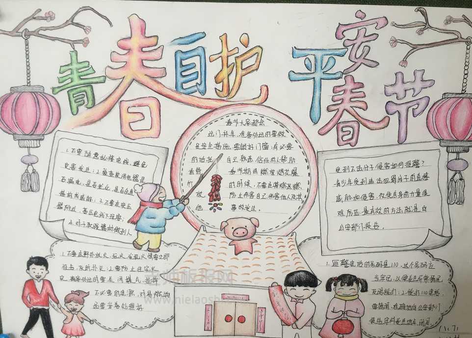 春节安全手抄报图片 青春自护平安春节