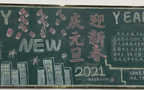 2021庆元旦迎新春黑板报图片 HAPPY YEAR