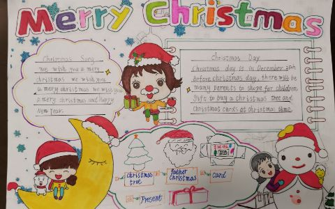 Merry Christmas 圣诞快乐英语手抄报图片