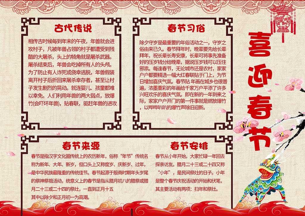 喜迎新春电子小报春节来源与习俗电子手抄报word模板下载