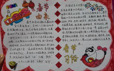 春节由来与习俗手抄报图片