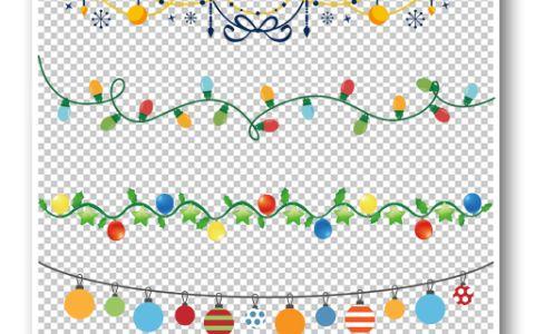 漂亮的圣诞彩灯装饰花纹边框元素电子模版