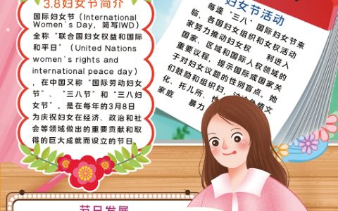 竖版3.8妇女节女神节女人节手抄报word电子小报模板