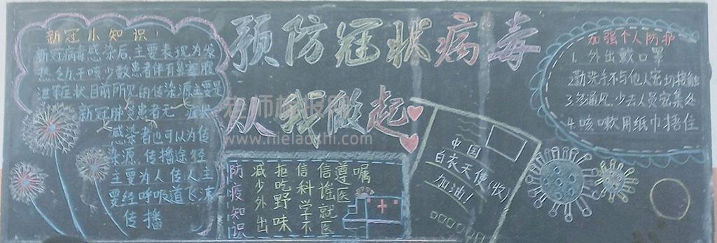 预防冠状病毒从我做起黑板报图片