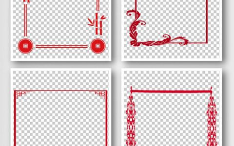 中国风红色边框花纹线条素材PNG模板