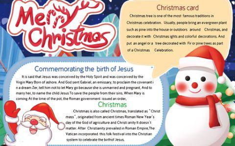 卡通圣诞节英语手抄报word电子模板