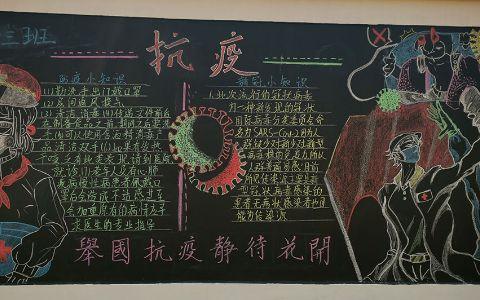 抗议黑板报图片 举国抗疫静待花开