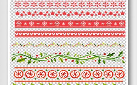 圣诞节手抄报装饰花边元素AI