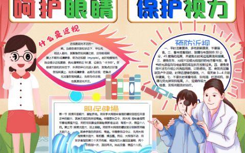 小清新系列呵护眼睛保护视力学生手抄报word电子小报模板