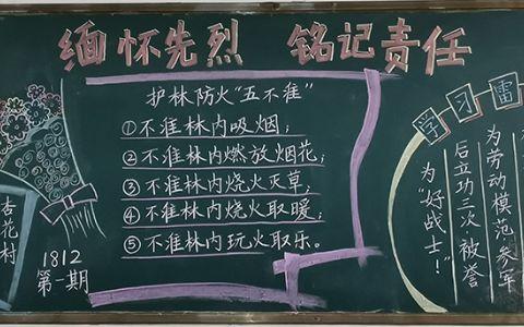 清明节缅怀先烈铭记责任黑板报图片