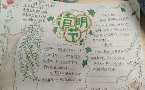 清明节传统习俗踏青插柳寒食手抄报图片