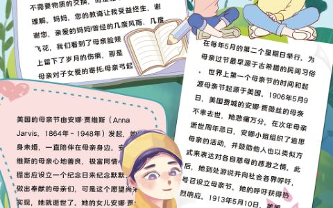 清新感恩母亲节手抄报妇女节小报word电子模板