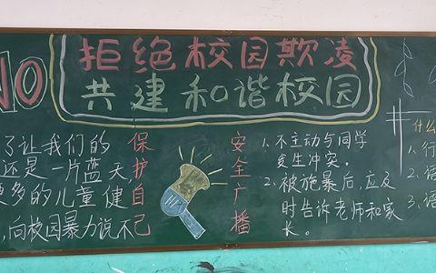 拒绝校园欺凌共建和谐校园黑板报图片