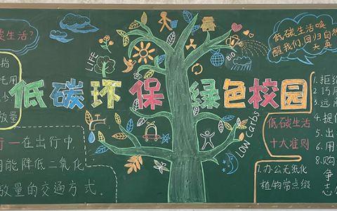 低碳环保绿色校园黑板报图片