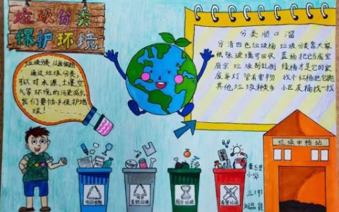小学生垃圾分类保护环境手抄报图片
