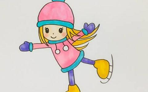 滑冰的小女孩人物简笔画图片