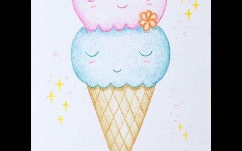 卡爱的双色冰淇淋简笔画图片 双色冰淇淋是怎么画的
