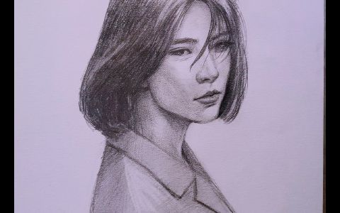 高清素描女生头像图片作品