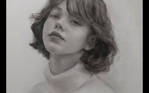 高清素描头像女青年步骤图片