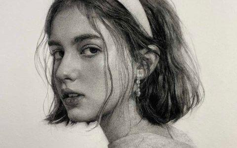素描侧脸肖像作品
