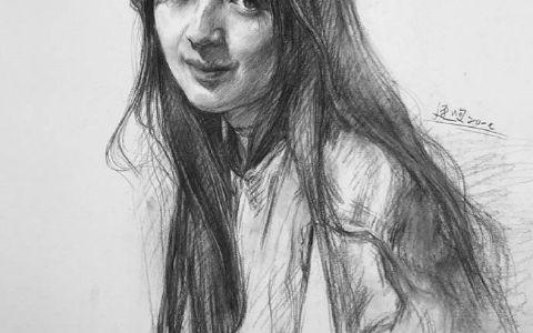 素描长发女孩步骤图片