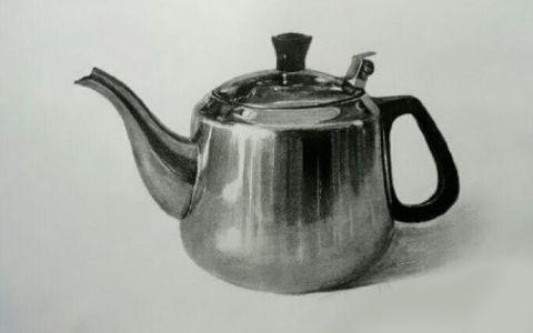 不锈钢水壶静物素描高清作品欣赏