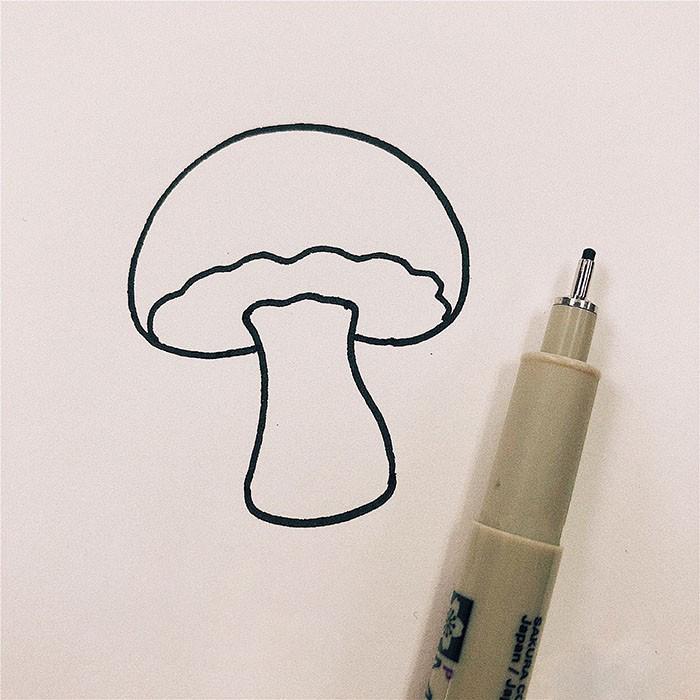 彩色蘑菇简笔画教程图片 彩色蘑菇是怎么画的
