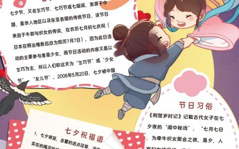 七夕节插画牛郎织女手抄报乞巧节小报word电子模版