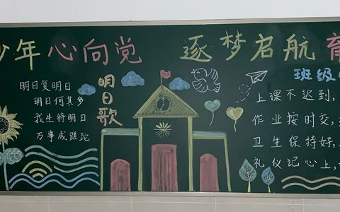 葵花少年心向党 逐梦起航育英才黑板报图片