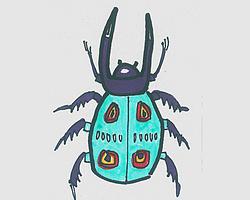 简笔画图片小甲壳虫画法图解教程