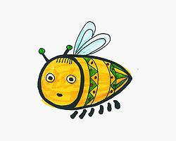 卡通彩色小蜜蜂简笔画画法图片步骤
