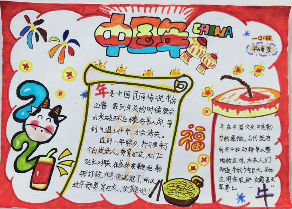 中国年学生主题手抄报图片