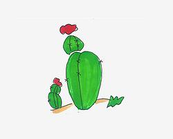 幼儿儿童画图片 有颜色小仙人球的画法