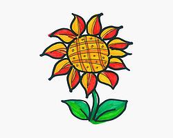 8一12岁画画大全 可爱简笔画向日葵的画法