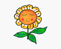 简单漂亮涂鸦 趣味简笔画向日葵的画法图解